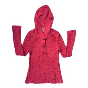 O'Neill Pink Crocheted V Neck Button Hoodie sz S